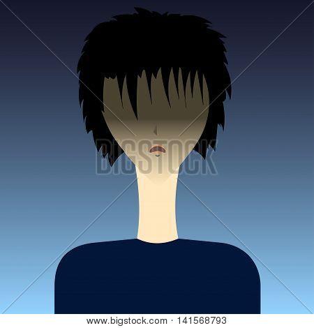 Anime boy Vector illustration Anime angry boy brunette on a dark background