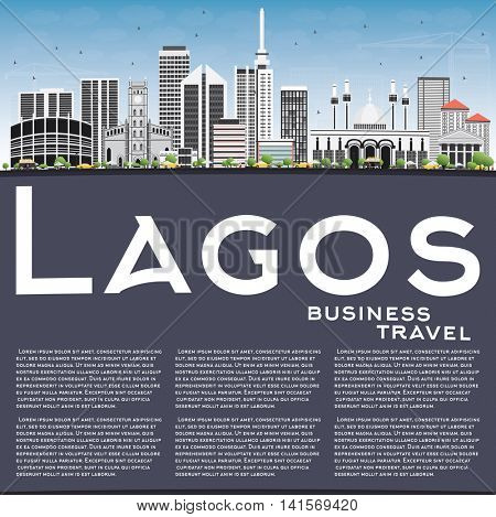 Lagos Skyline with Gray Buildings, Blue Sky and Copy Space. Business Travel and Tourism Concept with Modern Buildings. Image for Presentation Banner Placard and Web Site.