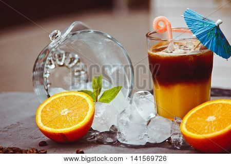 Fresh Ice Coffee With Orange, With Mint And Ice. Alcoholic, Non-alcoholic Drink-beverage