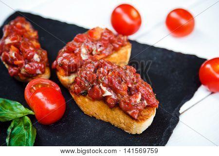 Traditional Italian Antipasti Bruschetta With Chopped Veal