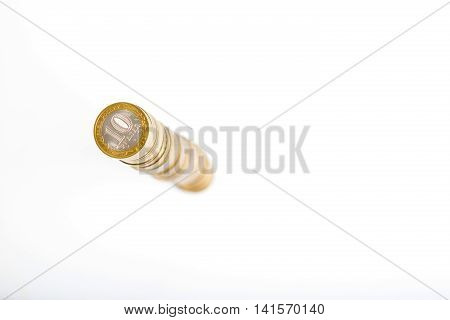 Stack Of Ruble Coins, Top View, Shallow Focus, Isolated