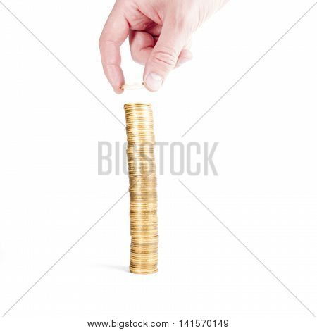 Stack Gold Coins With Reflection And Hand Isolated