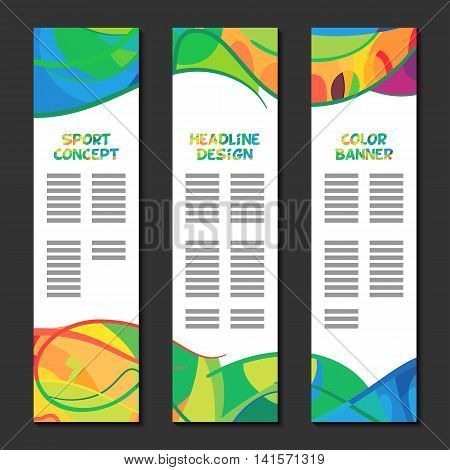 Colorful abstract template design, brochure poster, web sites banner, pattern page, leaflet preparation with colored lines and waves, logo and text separately cover layout. Sport concept banners. Vector formats page