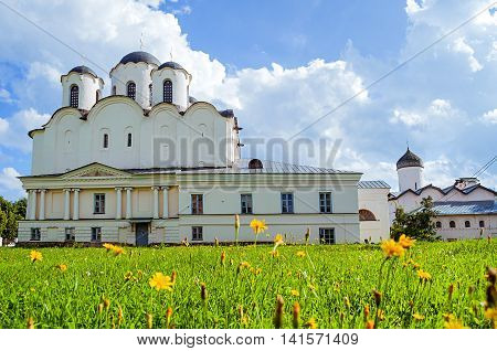 Summer view of St Nicholas Cathedral - one of the oldest churches of Novgorod at the Yaroslav Courtyard Veliky Novgorod Russia