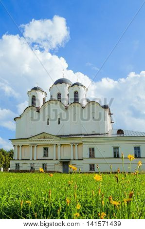 Architecture facade view of St Nicholas Cathedral - one of the oldest churches of Novgorod at the Yaroslav Courtyard Veliky Novgorod Russia