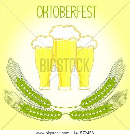 Three glasses of beer and barley ears, Oktoberfest. On a light yellow background