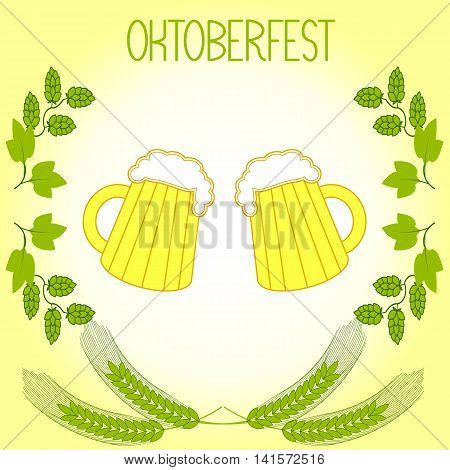 Two mugs of beer, barley stalks and branches of hops, the Oktoberfest. On a light yellow background