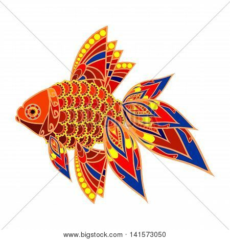 Colored fish. Tropical fish in asian style