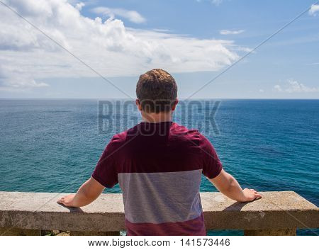 A young man on a summer day gazing out from a high viewpoint at a vast, green ocean.
