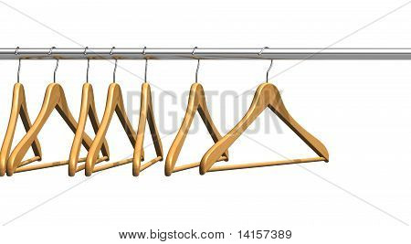 Coat hangers on clothes rail
