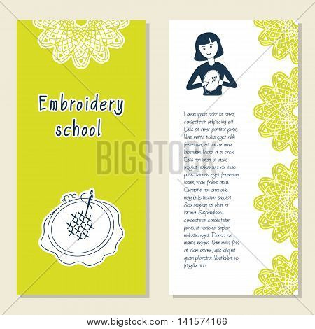 Cards template for embroidery school studio or class. Girl doing hand embroidery. Vector illustration with front and back side. Set of template for poster banner magazine presentation logo.