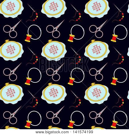 Hoop scissors organizer spool and other tools for embroidery. Collected in a vector seamless pattern on black background for use in design web site packaging textiles paper.