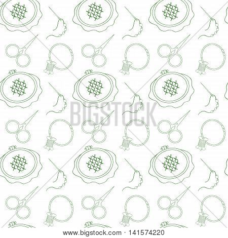 Vector seamless pattern. Hoop scissors organizer spool and other tools for embroidery. Green line on white background for use in design web site packaging textiles paper.