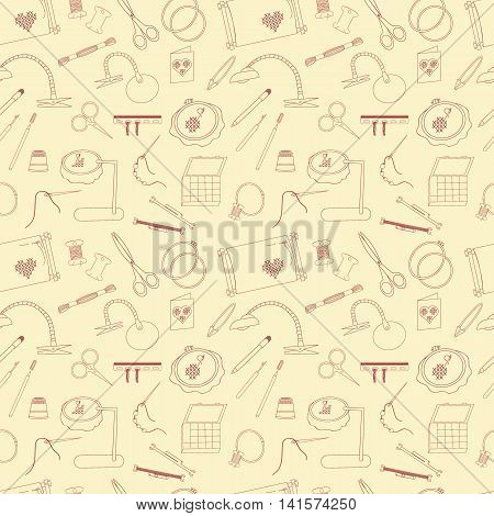 Frame for embroidery scissors organizer spool a magnifying glass and other accessories. Collected in a vector Seamless pattern for use in design web site packaging textiles.