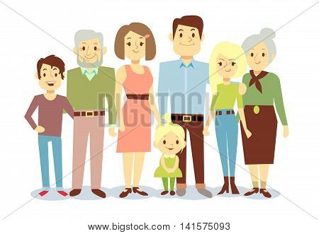 Happy family portrait, vector flat characters. Grandfather and grandmother, mom and dad, kids. Big family illustration