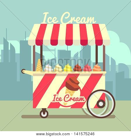 Vector gelato ice cream cart. Food dessert ice cream and summer cart with ice cream in waffle cone illustration