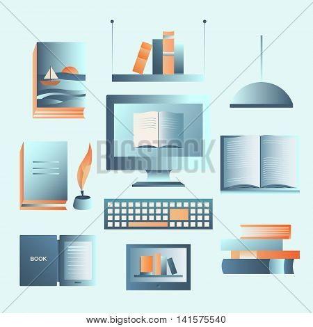 Set of books. Icon collection: book, ebook, library, computer, shelf. Vector objects for banners, cards, invitations website pages posters backgrounds Elements for design