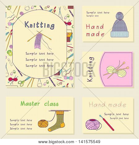 Set printable journal cards. Bright collection with knitting tools. Stock vector illustrations of knitting objects handicraft hand made. It can be used for for scrapbook print business invitation