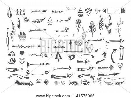 Hand drawn different elements. Vector set of decorative arrows, feathers, floral objects, lines, dividers and border. Templates of symbols for use in design.