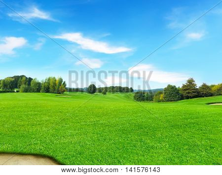 Idyllic golf course with forest. Summer landscape, park.