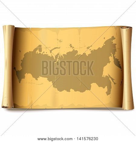 Vector Paper Scroll with Russia isolated on white background