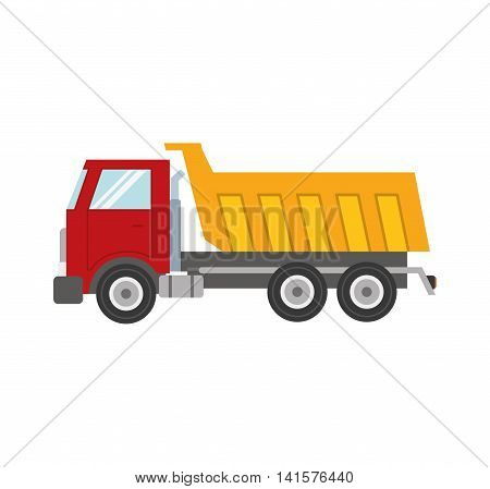 dump truck transportation delivery icon. Isolated and flat illustration. Vector graphic