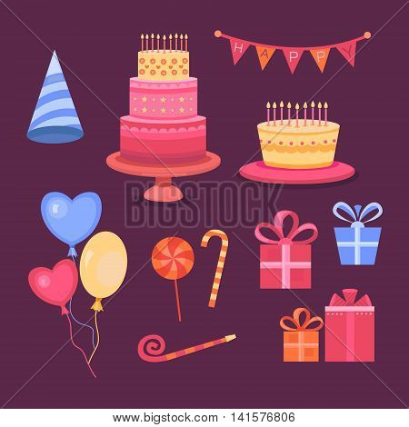 Set of objects on the theme of the birthday celebration. Collection party icons. Vector symbols: cake, balloons, candy, gifts and other. Templates for design.