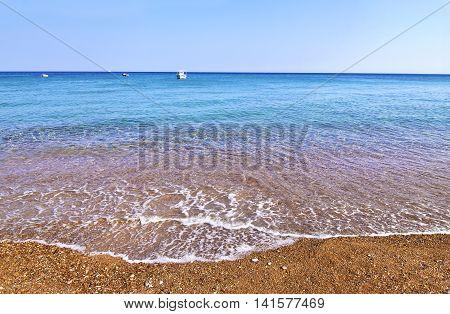landscape of Koroni beach Peloponnese Greece - famous greek summer places