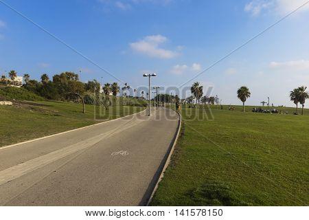 Embankment of the Mediterranean Sea in Tel Aviv - Jaffa with segway