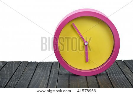 Round clock minute and second close-up