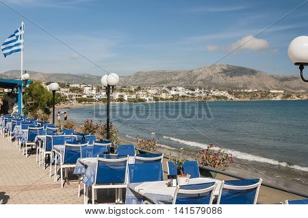 A view of one of the prominade at Makrygialos on the Greek island of Crete.