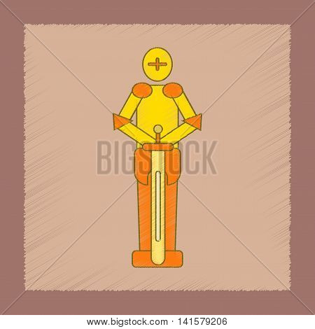 flat shading style icon Kids toy child soldier Knight, vector