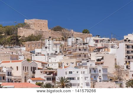 The old fort at the sea port town of Sitia on the Greek island of Crete.