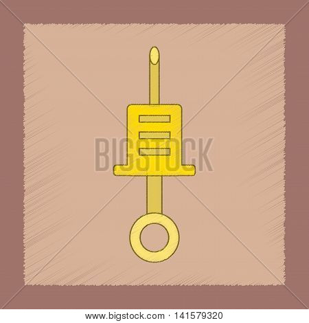 flat shading style icon Kids toy syringe, vector
