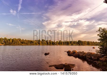 A beautiful scenic image of a Swedish lake in the summertime.