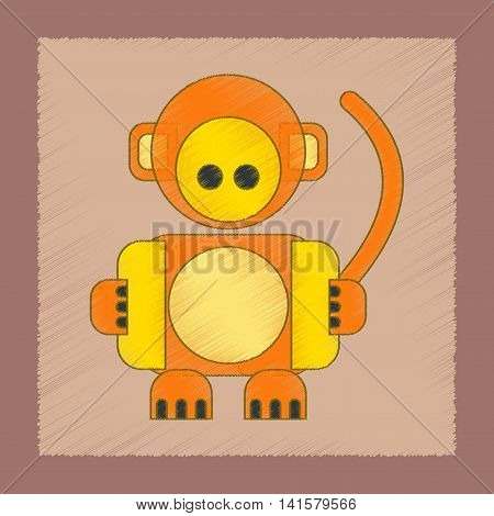 flat shading style icon Kids toy monkey