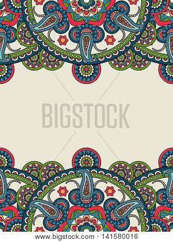 Indian paisley boho mandalas frame, vertical format. Vector illustration