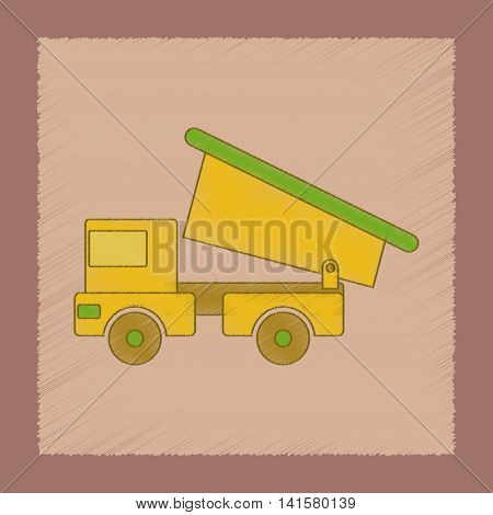 flat shading style icon Kids toy truck, vector