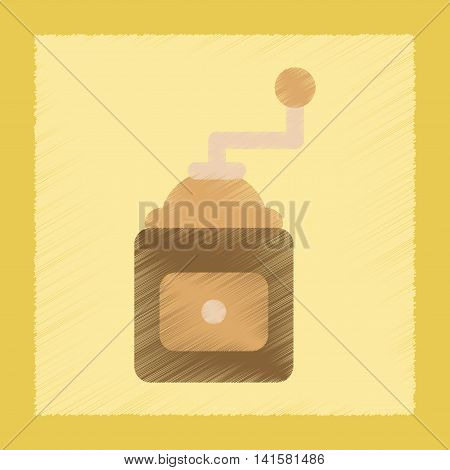 flat shading style icon coffee mill grinder, vector