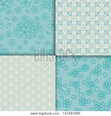 Blue and white sakura pattern set. Vector illustration