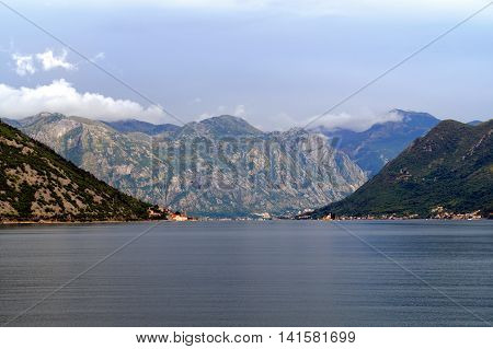Beautiful landscape Kotor bay, Boka Kotorska, Montenegro, Europe. Kotor Bay is a UNESCO World Heritage Site.
