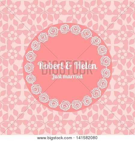 Just married wedding card template decorated cute pattern with floral frame. Vector illustration