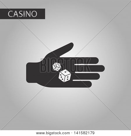 black and white style poker dices in hand, vector