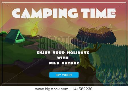 Cute summer poster - camping landscape with tent and bonfire. Vector Illustration