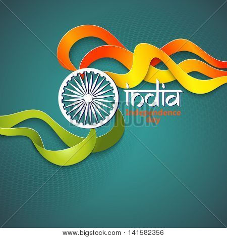 Flag colors India theme for Republic day. Indian Independence Day concept background with Ashoka wheel. Vector Illustration