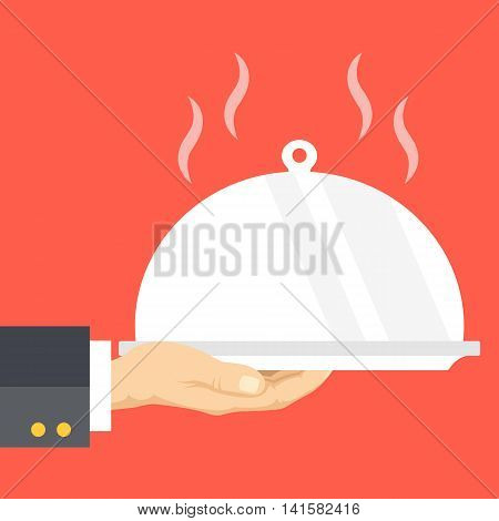 Waiter's hand holds restaurant cloche and serving tray. Flat design vector illustration