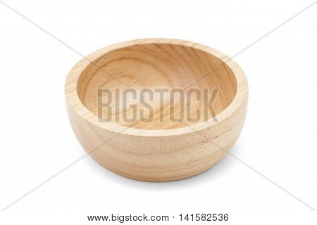 wooden bowl isolated on white background with soft shadow and path