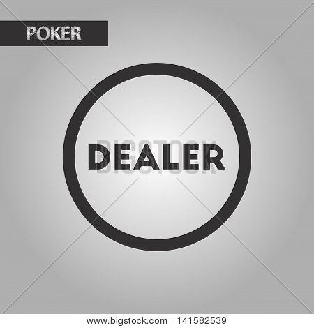 black and white style poker chip dealer, vector