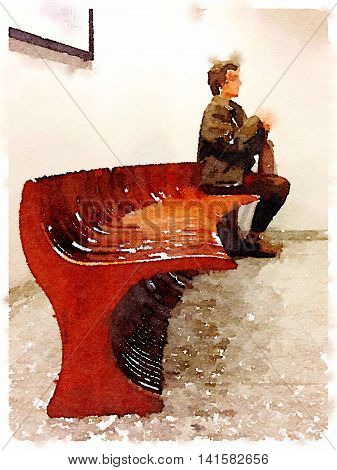 Digital watercolor painting of a lady sitting upright on the end of a long wooden bench with a bag on her lap. With space for text.