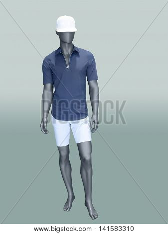 Male mannequin in summer clothes over green background. No brand names or copyright objects.